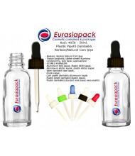 Kod: 4050 - 50ml. Plastik Pipetli Renksiz Cam Şişe